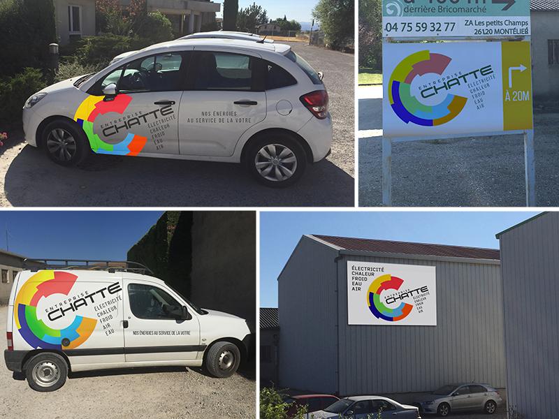 marquage véhicule, Entreprise Chatte | Travail Associé Agence Communication Lyon et Valence
