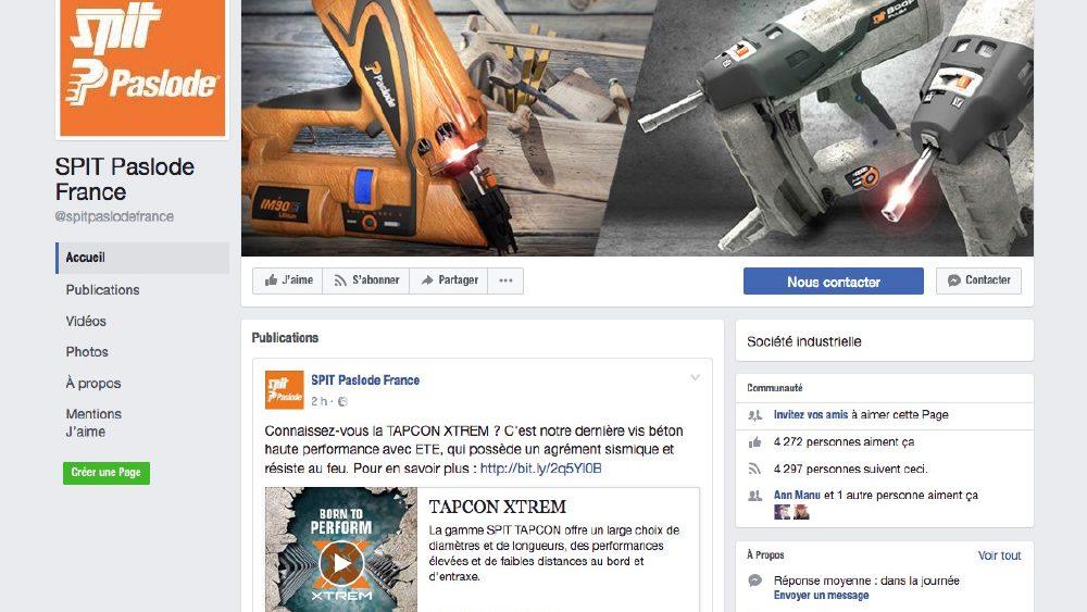 Spit Paslode France en mode digital et réseaux sociaux (Facebook)