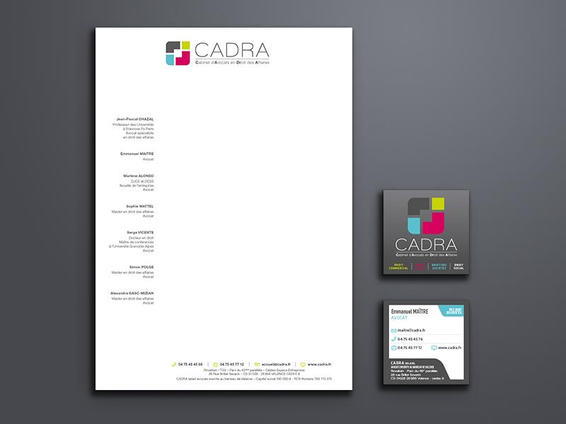 création papeterie, Cadra | Travail Associé Agence Communication Lyon et Valence